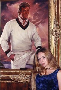 McGillivray (pictured at Mar-a-Lago), who was 23 at the time of the alleged groping, in front of Trump's portrait that was purchased with donated money to his foundation.