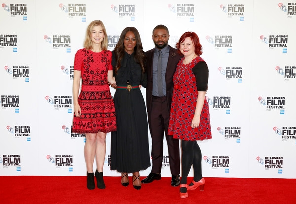 Actress Rosamund Pike, director Amma Asante, actor David Oyelowo and London Film Festival Director Claire Stewart attend the 'A United Kingdom' photocall during the 60th BFI London Film Festival at The Mayfair Hotel on October 5, 2016 in London, England.